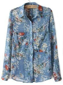 Florals Butterfly Print Blouse With Pockets