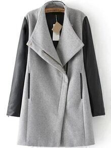 Contrast Shawl Collar Long Grey Coat