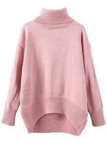 Turtleneck Dropped Shoulder Seam High Low Pink Jumper