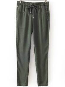 Draw Cord Waist Studded Army Green Pant