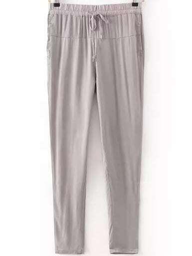 Pantalon avec cordon nou lastique su d gris french romwe for Acheter maison suede