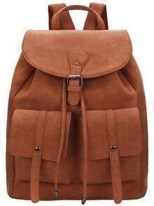 Brown Buckle Magnetic PU Backpacks