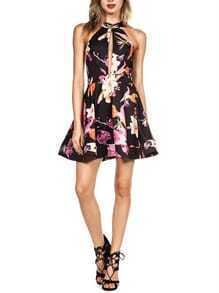 Black Sleeveless Cut Out Floral Flare Dress