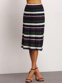 Elastic Waist Striped Pleated Green Skirt