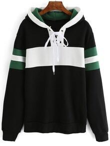 Hooded Striped Lace Up Black Sweatshirt