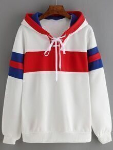 Hooded Striped Lace Up White Sweatshirt