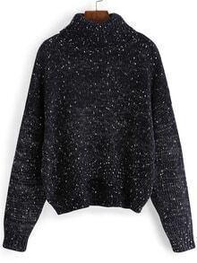 Turtleneck Dropped Shoulder Seam Blue Sweater