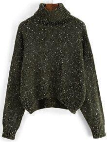 Turtleneck Dropped Shoulder Seam Green Sweater