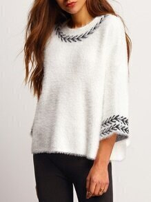 Crew Neck Leaves Fuzzy Embroidered Sweater