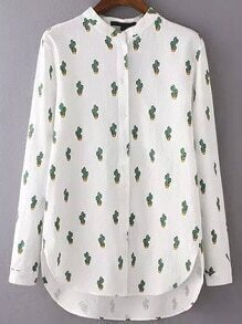 High Low Cactus Print Blouse