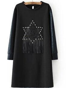 Studded Fringe Black Tshirt Dress