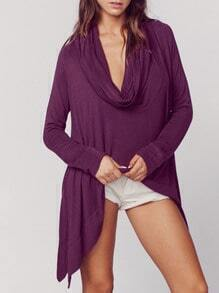 Purple Cowl Neck Asymmetric T-Shirt