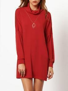 Red High Neck Dropped Shoulder Seam Dress