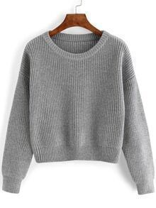 Dropped Shoulder Seam Grey Jumper