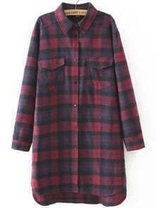 Dip Hem Plaid Shirt Dress With Pockets
