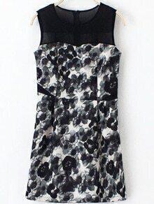 Sleeveless Flower Print Chiffon Dress