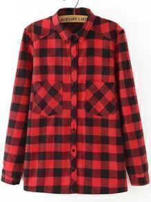 Long Sleeve Plaid Pockets Blouse