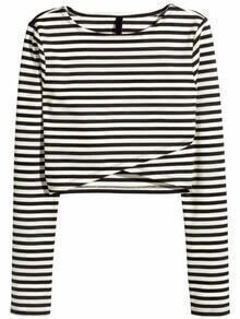 Long Sleeve Striped Wrap T-shirt