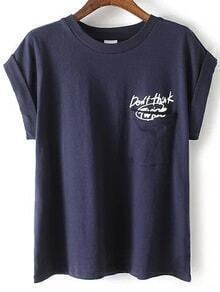 Letter Print Cuffed Navy T-shirt With Pocket