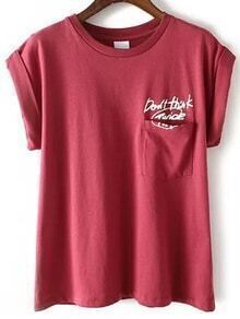 Letter Print Cuffed Red T-shirt With Pocket