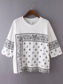 Paisley Print White T-shirt