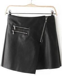 Asymmetrical Zipper PU Black Skirt