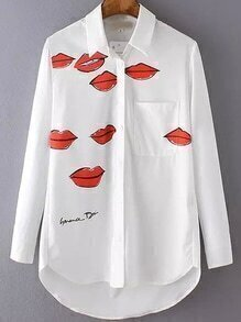 White Lapel Lips Print Loose Blouse