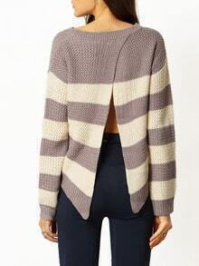 Multicolor Long Sleeve Color Block Sweater