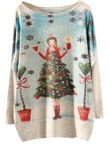 Multicolor Batwing Sleeve Christmas Girl Print Knitwear