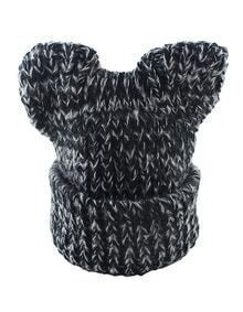 New Coming Black Trendy Winter Style Beautiful Lady Knitted Hat