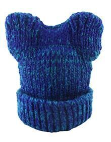 New Coming Blue Trendy Winter Style Beautiful Lady Knitted Hat