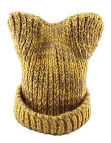 New Coming Yellow Trendy Winter Style Beautiful Lady Knitted Hat