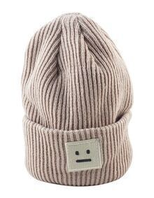 Tide Fashion Beige Big Popular Autumn And Winter Thick Stick Needle Face Knitting Hat