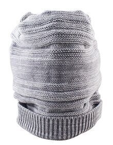 Fashion Winter Style Gray Woolen Lady Knitted Beanie Hat