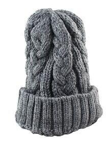 Woolen Grey Knitted Winter Hat
