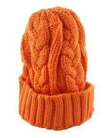 Woolen Orange Knitted Winter Hat