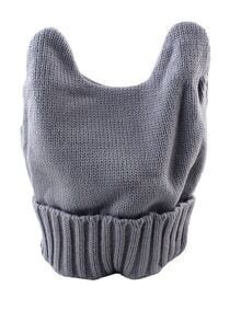 New Model Gray Woolen Knitted Ears Shape Fancy Beanie Women's Hat