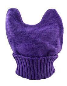 New Model Purple Woolen Knitted Ears Shape Fancy Beanie Women's Hat
