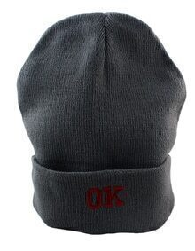 Gray Knitted with OK Letters Winter Beanie Hat