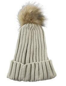 New Trendy Beige Woolen Knitted Women Winter Hat