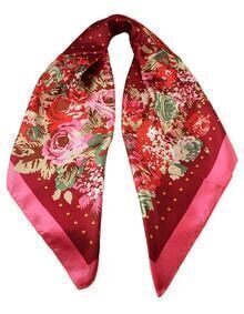 Fashion Red Flower Print Chiffon Scarves For Women Apparel Accessories