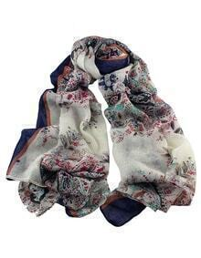 New Fashion Voile Navyblue Flower Printed Women Scarf