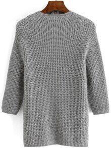 High Neck Chunky Knit Grey Jumper
