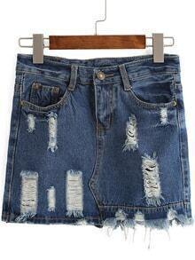 Ripped Frayed Denim Blue Skirt