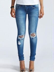 Ripped Low Waist Denim Pant
