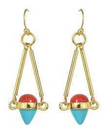 Gold Plated Resin Stone Hanging Long Fancy Earrings
