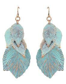 New Trendy Blue Enamel Drop Leaf Shape Earrings