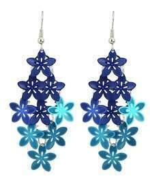 Blue Metal Flower Shape Fancy Earrings