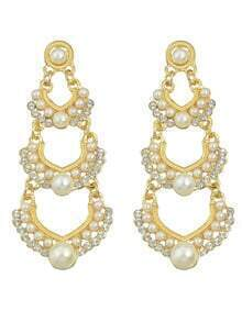 Gold Plated Long Imitation Hanging Pearl Earrings