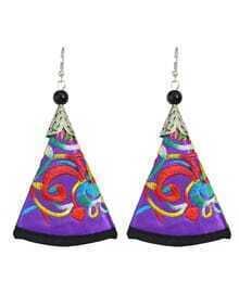 Purple Artificial Triangle Pendant New Model Earrings